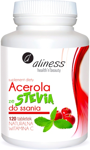 Aliness Acerola ze Stevią do ssania 120tab naturalna witamina C - suplement diety