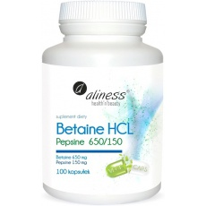 Aliness Betaina HCL 650mg Pepsyna 150mg 100kaps - suplement diety