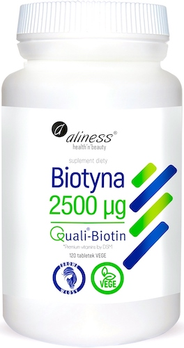Aliness Biotyna 2500mcg 120tab vege - suplement diety