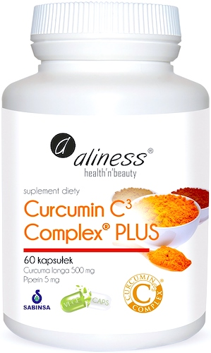 Aliness CURCUMIN C3 complex 500mg Piperin 5mg 60 kaps - suplement diety