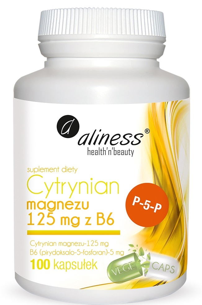 Aliness Cytrynian Magnezu 125mg z B6 100kaps - suplement diety