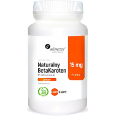 Aliness Naturalny BetaKaroten (ProWitamina A) 15mg 100tab vege - suplement diety