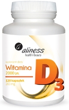 Aliness Witamina D3 2000 j.m. 120kaps - suplement diety
