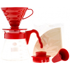 Hario zestaw V60 Pour Over Kit Red - drip, serwer, filtry PROMOCJA