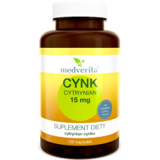 Medverita Cynk Cytrynian 15mg 180kaps - suplement diety