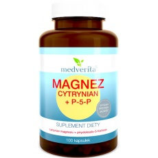 Medverita Magnez Cytrynian + Witamina B6 P-5-P 100kaps - suplement diety