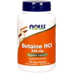 NOW FOODS Betaine HCI + pepsyna 648mg 120 veg. kaps. - suplement diety