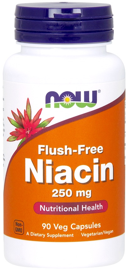 NOW FOODS Niacyna Flush-Free 250mg 90kaps vege - suplement diety