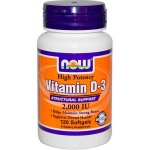 NOW FOODS Witamina D-3 2.000 IU 120 softgels - suplement diety