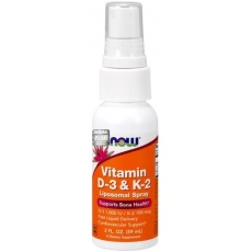 NOW FOODS Witamina D3 1.000IU + K2 100mcg 59 ml spray liposomalny - suplement diety
