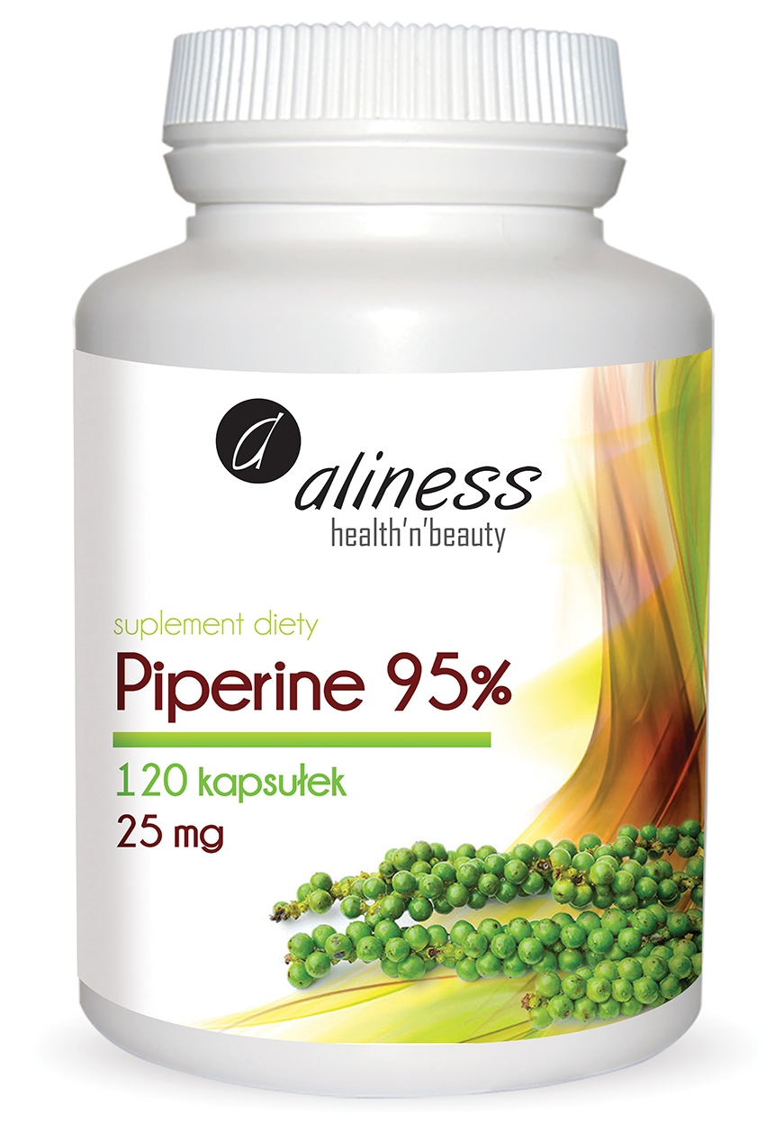 Aliness Piperyna Piperine 95% 25mg 120kaps - suplement diety