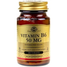 SOLGAR Witamina B6 50mg 100tabs vege - suplement diety
