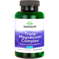 Swanson Triple Magnesium Complex 400mg 100kaps Magnez trzy formy - suplement diety